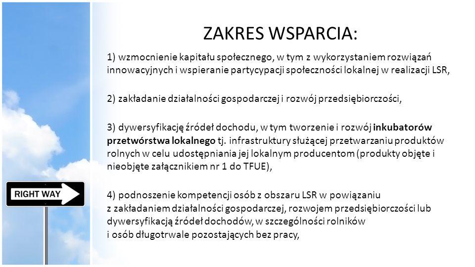 ZAKRES WSPARCIA: