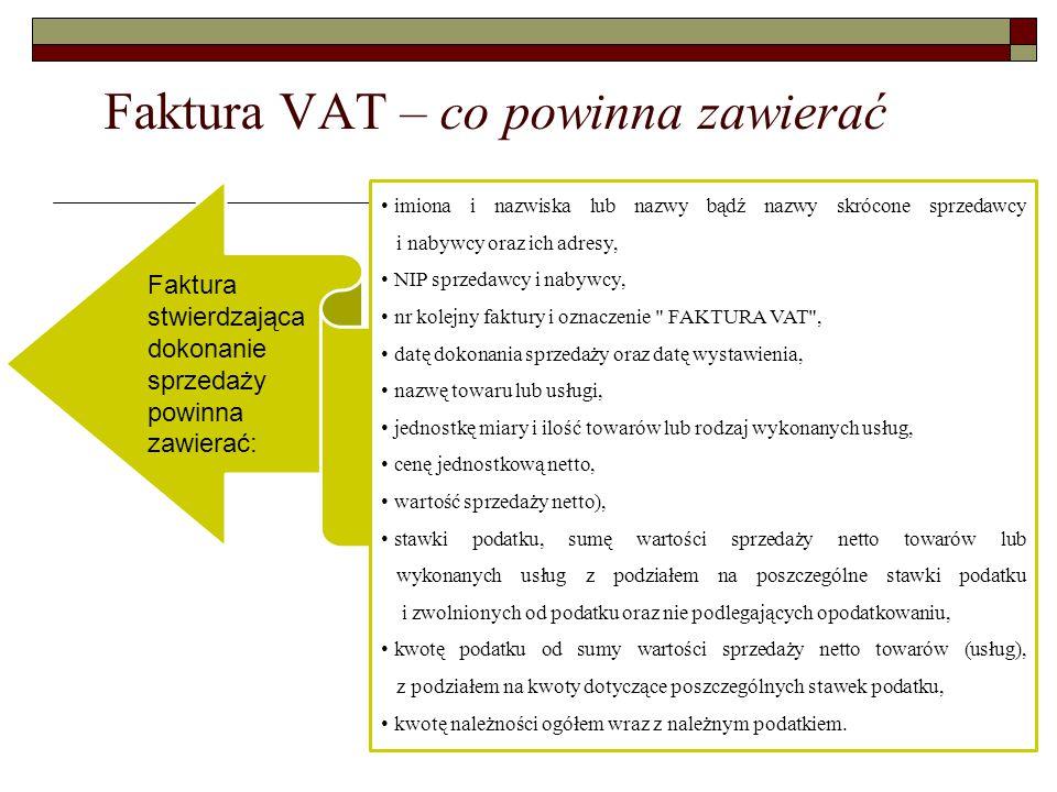 Faktura VAT – co powinna zawierać