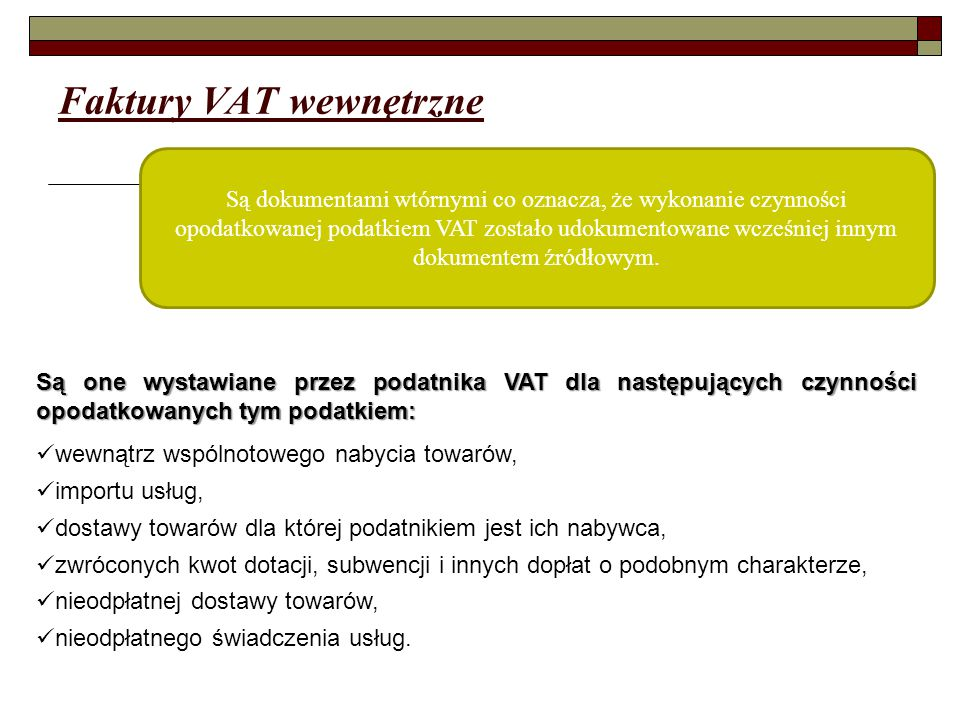 Faktury VAT wewnętrzne