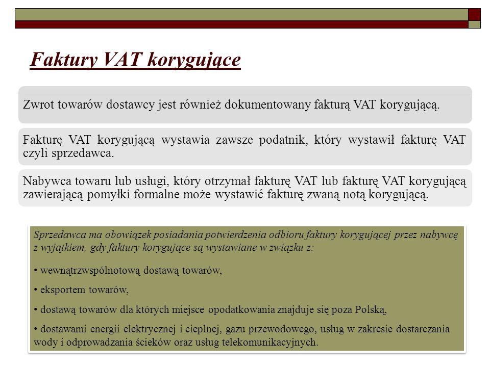 Faktury VAT korygujące