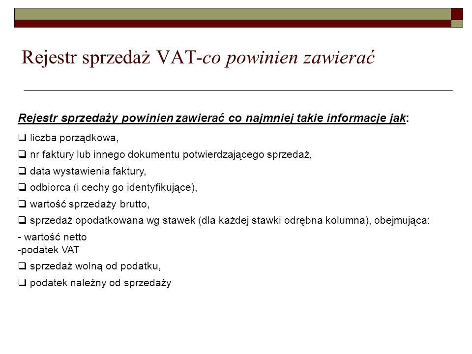 Rejestr sprzedaż VAT-co powinien zawierać