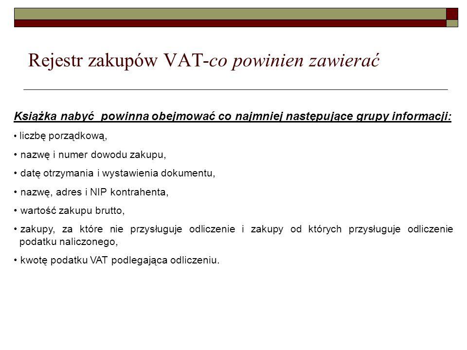 Rejestr zakupów VAT-co powinien zawierać