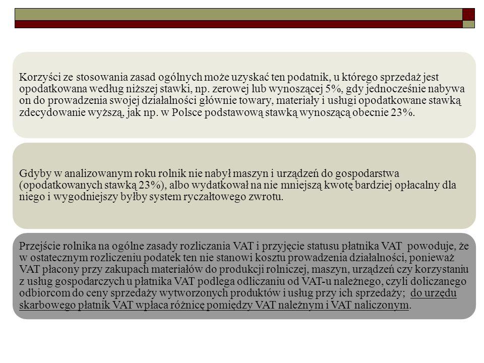 Korzyści ze stosowania zasad ogólnych może uzyskać ten podatnik, u którego sprzedaż jest opodatkowana według niższej stawki, np. zerowej lub wynoszącej 5%, gdy jednocześnie nabywa on do prowadzenia swojej działalności głównie towary, materiały i usługi opodatkowane stawką zdecydowanie wyższą, jak np. w Polsce podstawową stawką wynoszącą obecnie 23%.