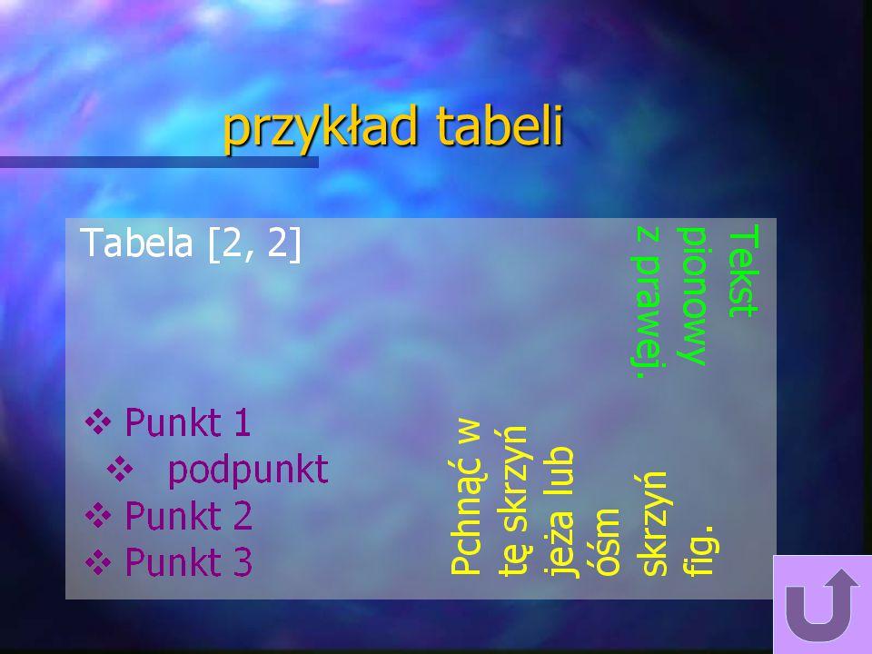 przykład tabeli Przykład tabeli.