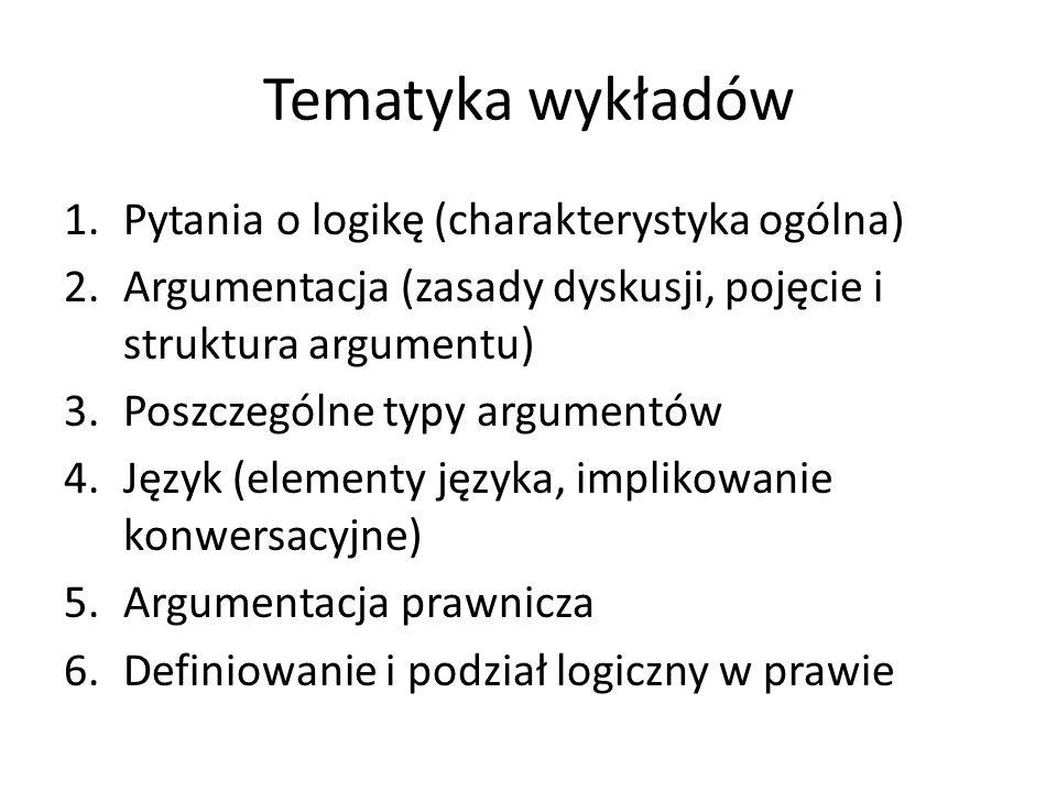 Tematyka wykładów Pytania o logikę (charakterystyka ogólna)