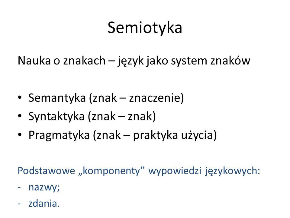 Semiotyka Nauka o znakach – język jako system znaków