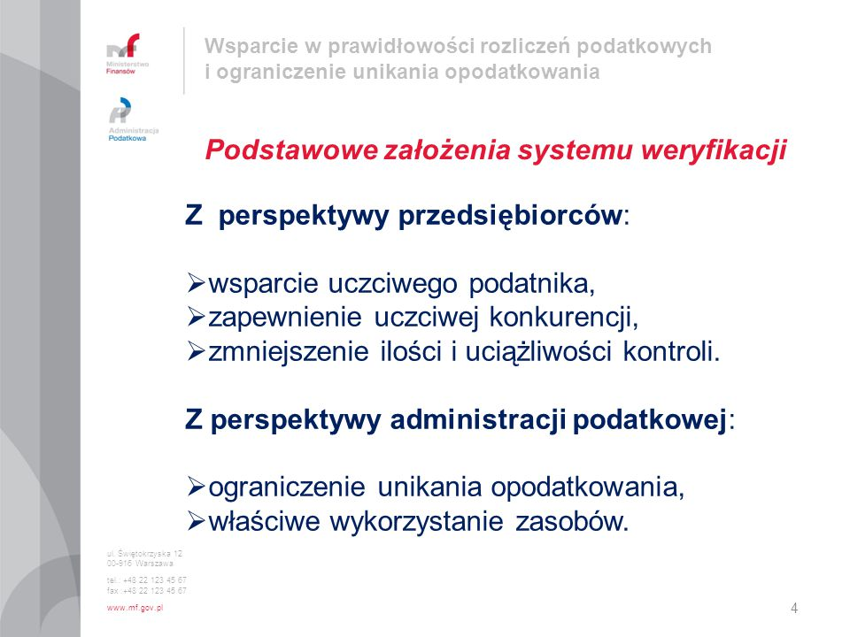 Podstawowe założenia systemu weryfikacji
