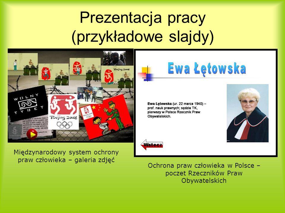 Prezentacja pracy (przykładowe slajdy)