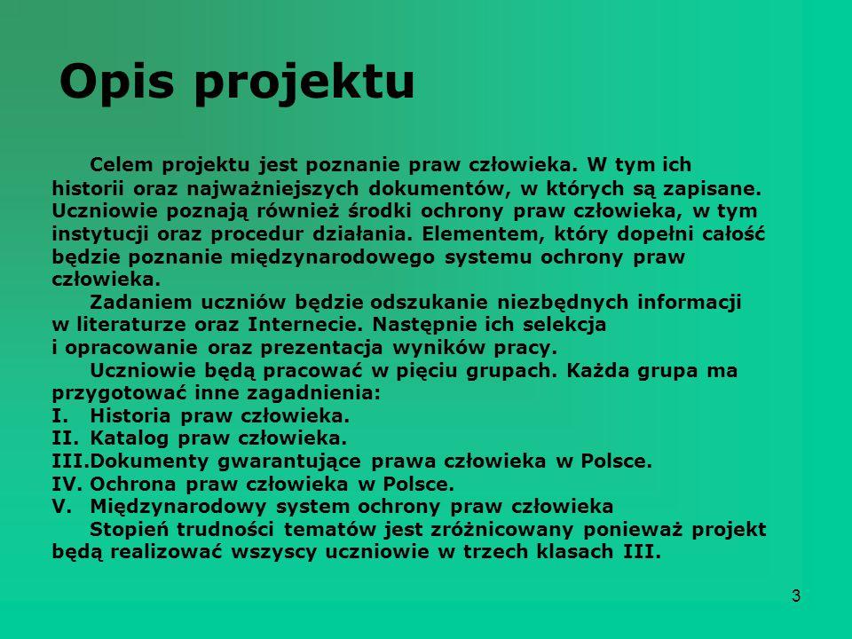 Opis projektu Celem projektu jest poznanie praw człowieka. W tym ich