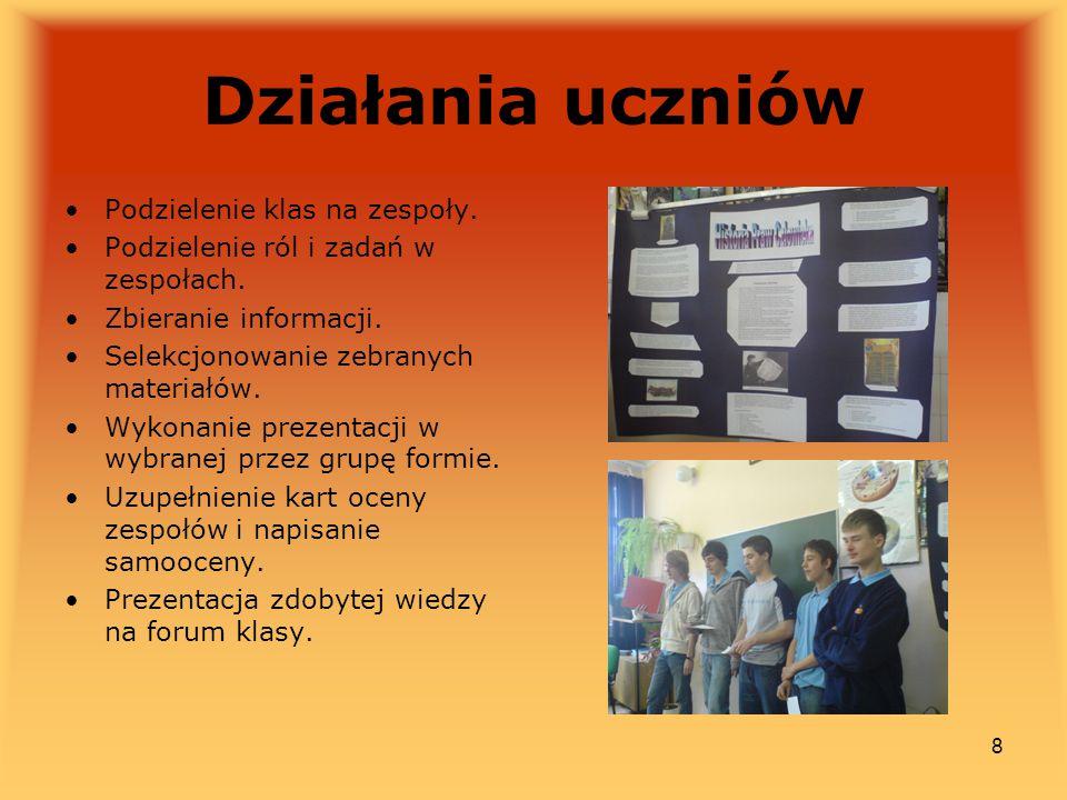 Działania uczniów Podzielenie klas na zespoły.