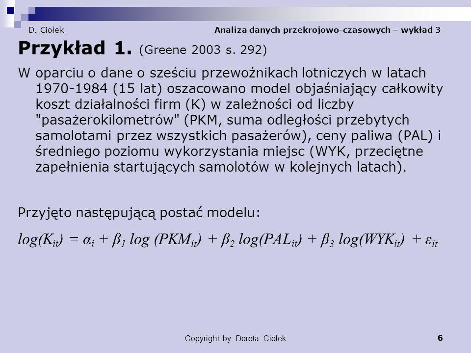 D. Ciołek Analiza danych przekrojowo-czasowych – wykład 3