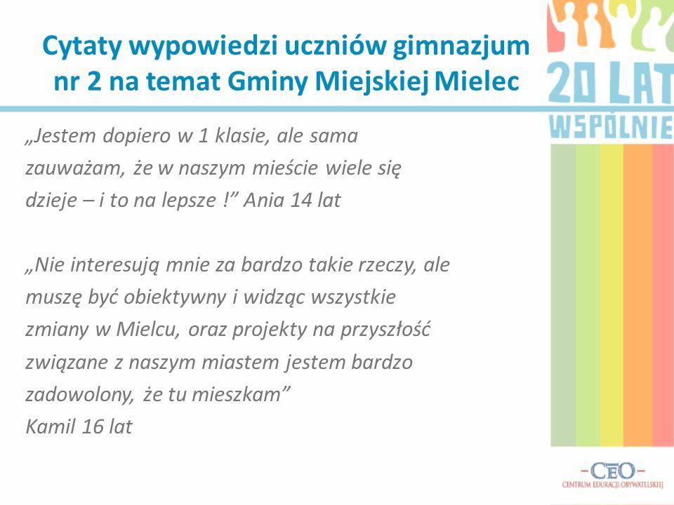 Cytaty wypowiedzi uczniów gimnazjum nr 2 na temat Gminy Miejskiej Mielec