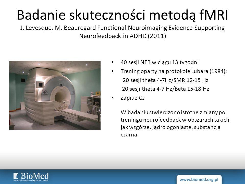 Badanie skuteczności metodą fMRI J. Levesque, M