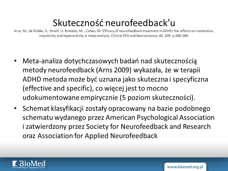 Skuteczność neurofeedback'u Arns, M. , de Ridder, S. , Strehl, U