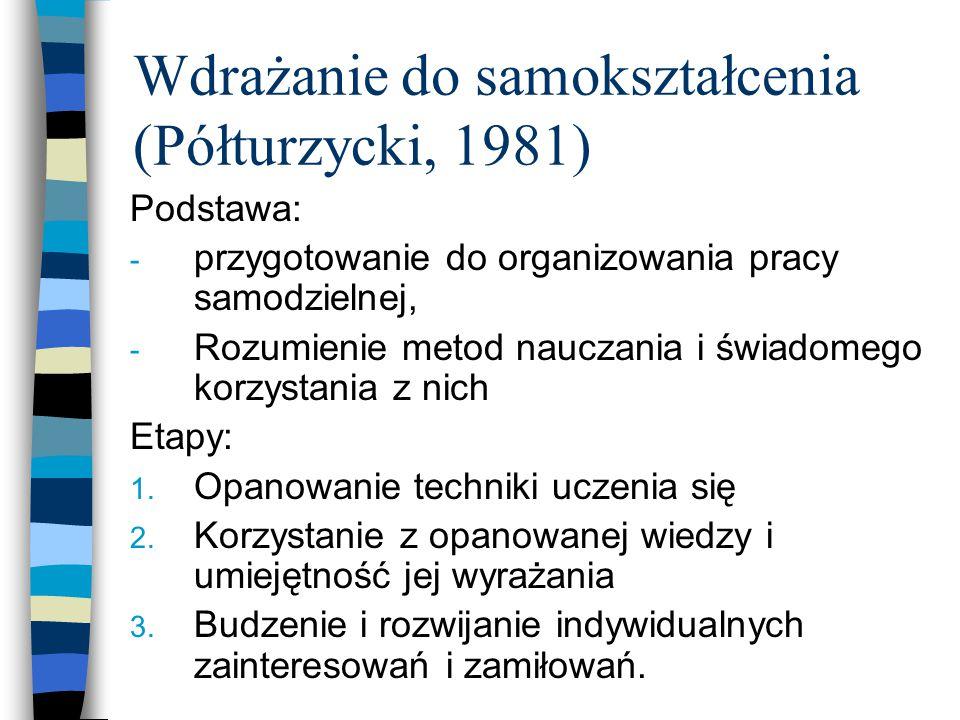 Wdrażanie do samokształcenia (Półturzycki, 1981)