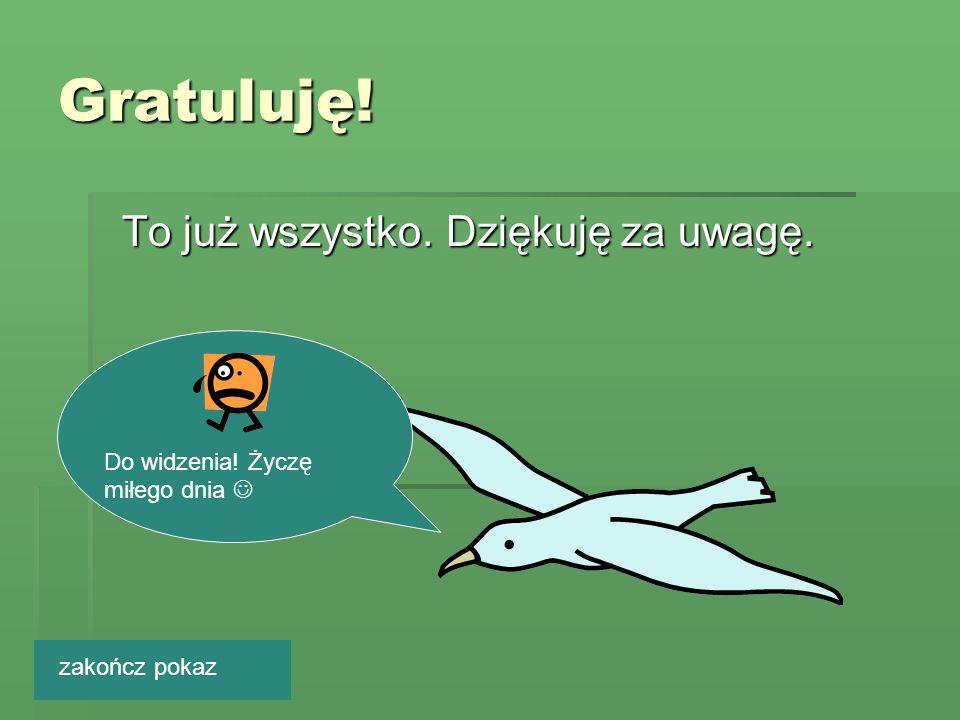 Gratuluję! To już wszystko. Dziękuję za uwagę.