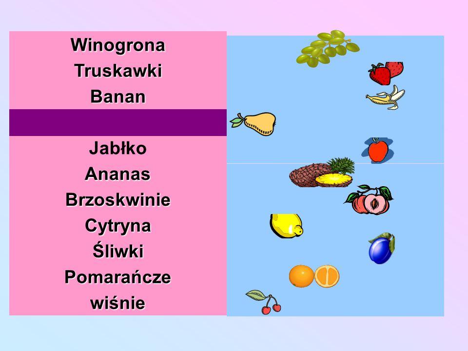 Winogrona Truskawki Banan Gruszka Jabłko Ananas Brzoskwinie Cytryna Śliwki Pomarańcze wiśnie