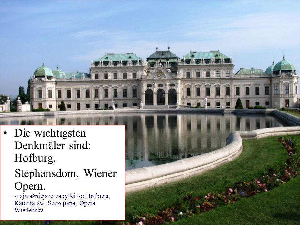 Die wichtigsten Denkmäler sind: Hofburg,