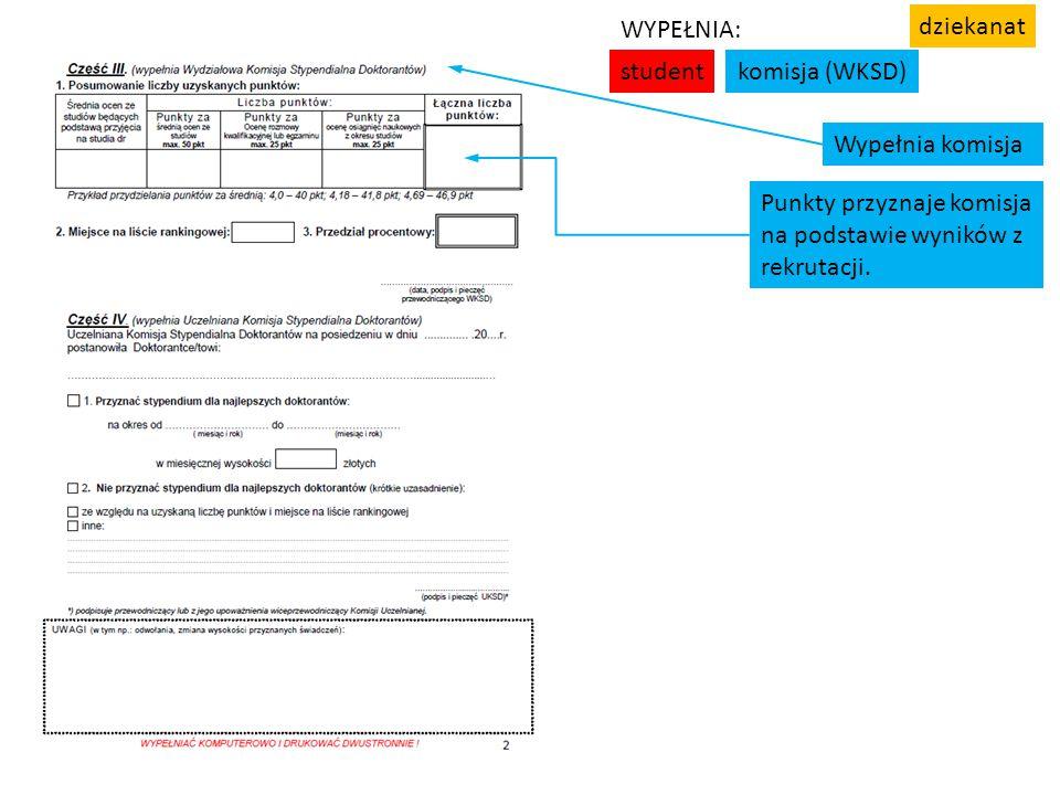student komisja (WKSD) WYPEŁNIA: dziekanat. Wypełnia komisja. Punkty przyznaje komisja. na podstawie wyników z.