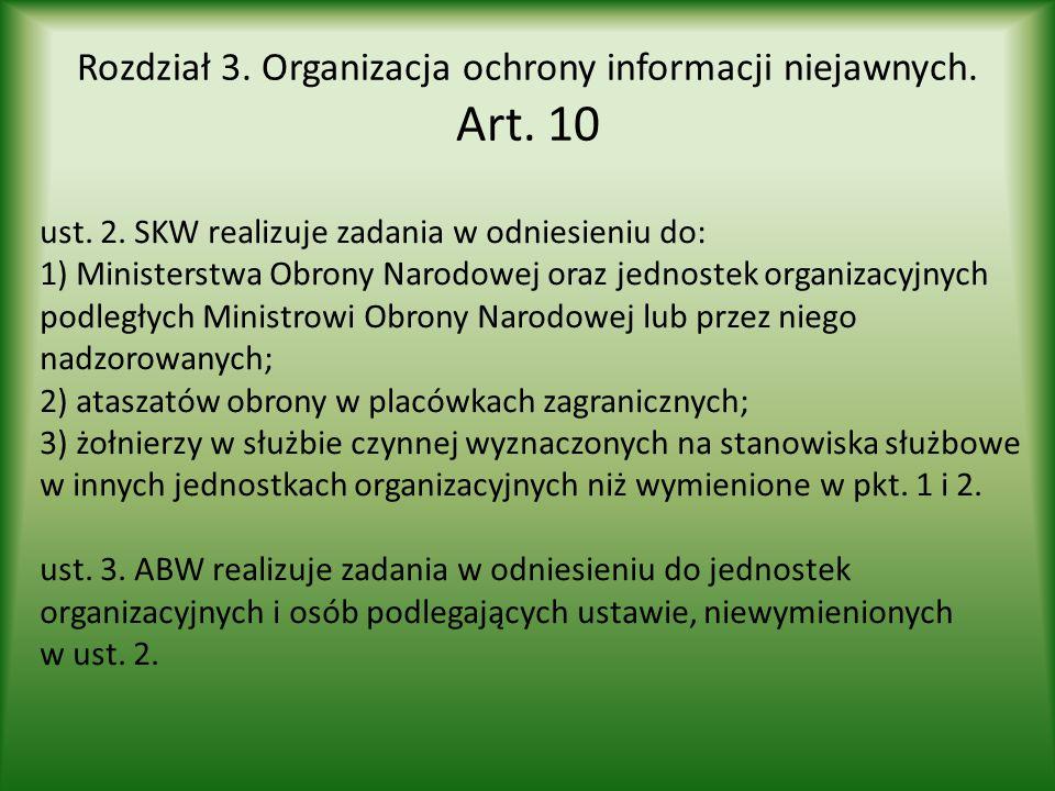 Rozdział 3. Organizacja ochrony informacji niejawnych. Art. 10