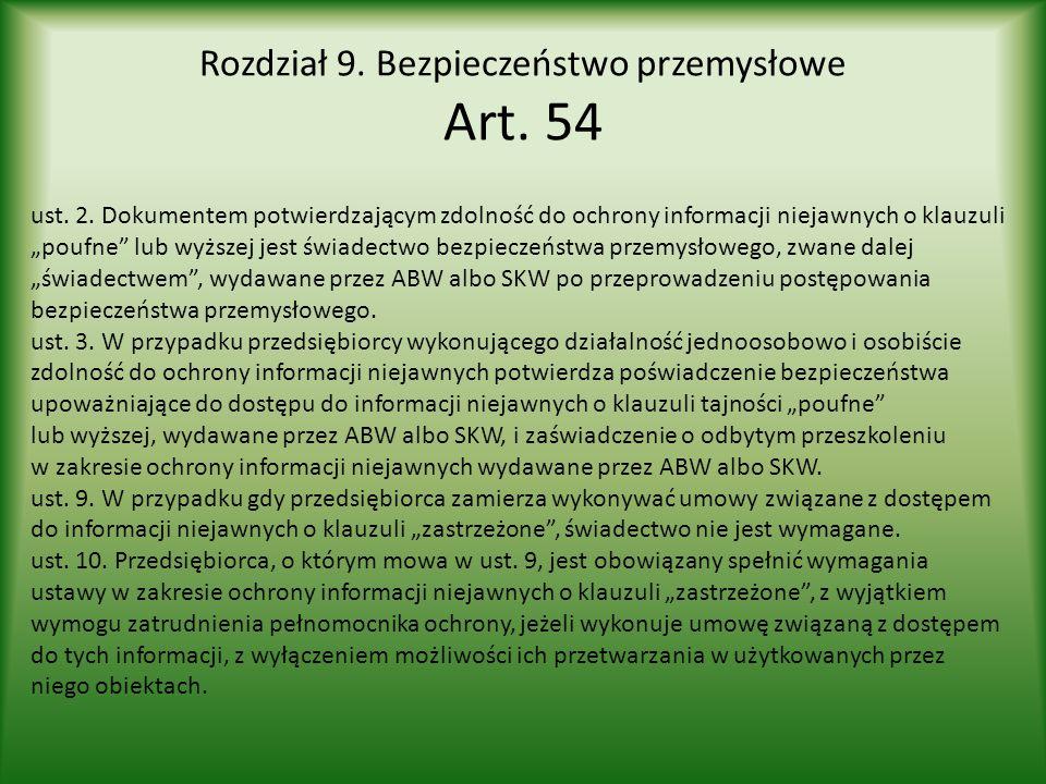 Rozdział 9. Bezpieczeństwo przemysłowe Art. 54