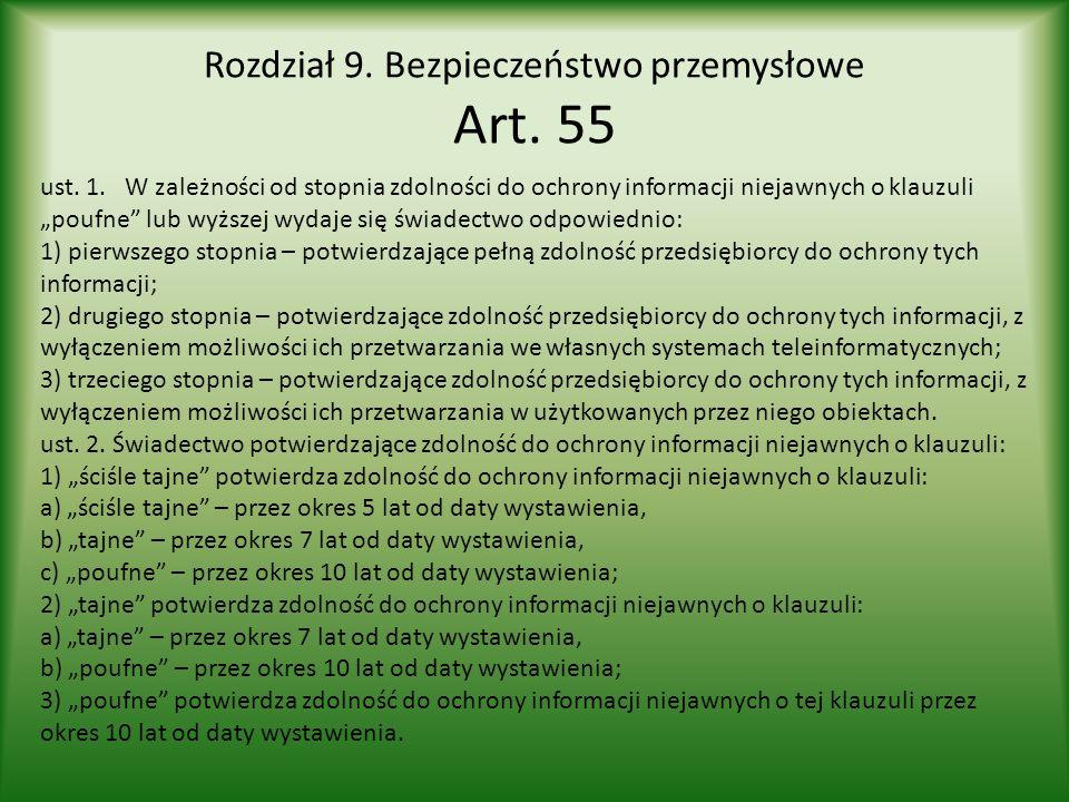 Rozdział 9. Bezpieczeństwo przemysłowe Art. 55