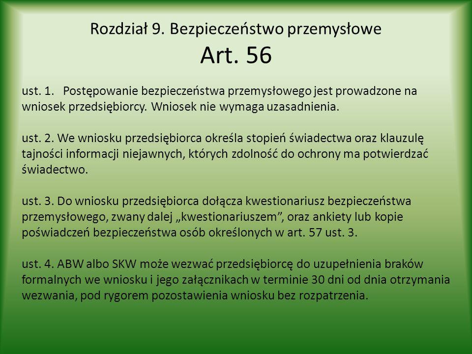 Rozdział 9. Bezpieczeństwo przemysłowe Art. 56