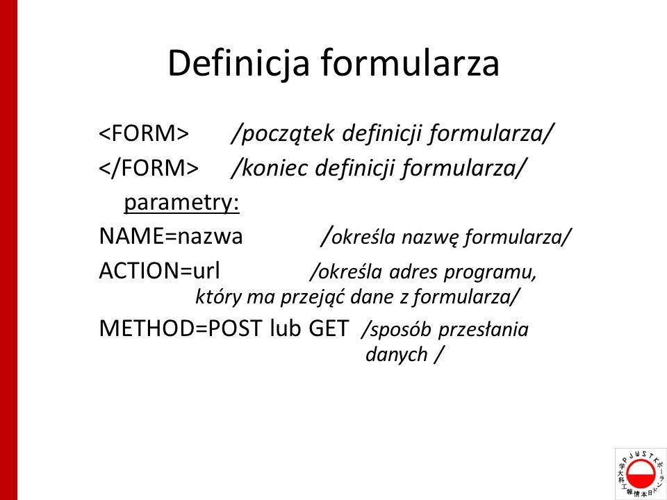 Definicja formularza