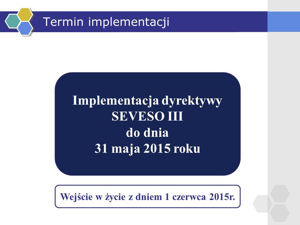 Implementacja dyrektywy Wejście w życie z dniem 1 czerwca 2015r.