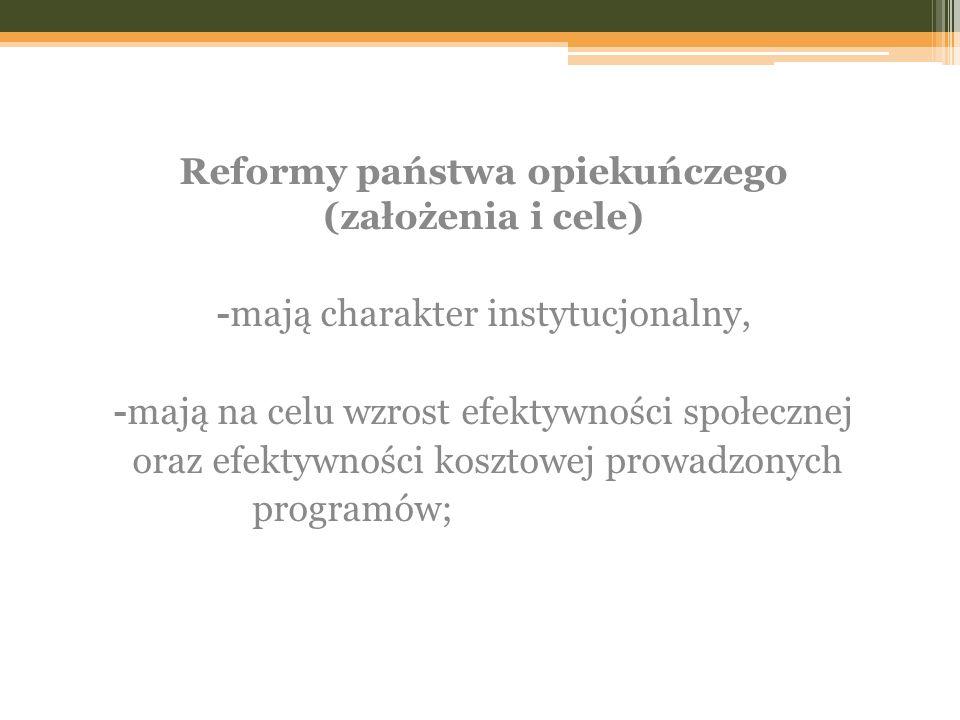 Reformy państwa opiekuńczego (założenia i cele)