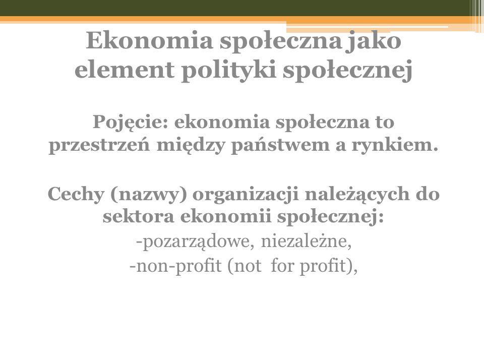 Pojęcie: ekonomia społeczna to przestrzeń między państwem a rynkiem.