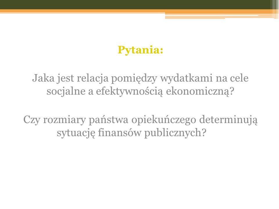 Pytania: Jaka jest relacja pomiędzy wydatkami na cele socjalne a efektywnością ekonomiczną