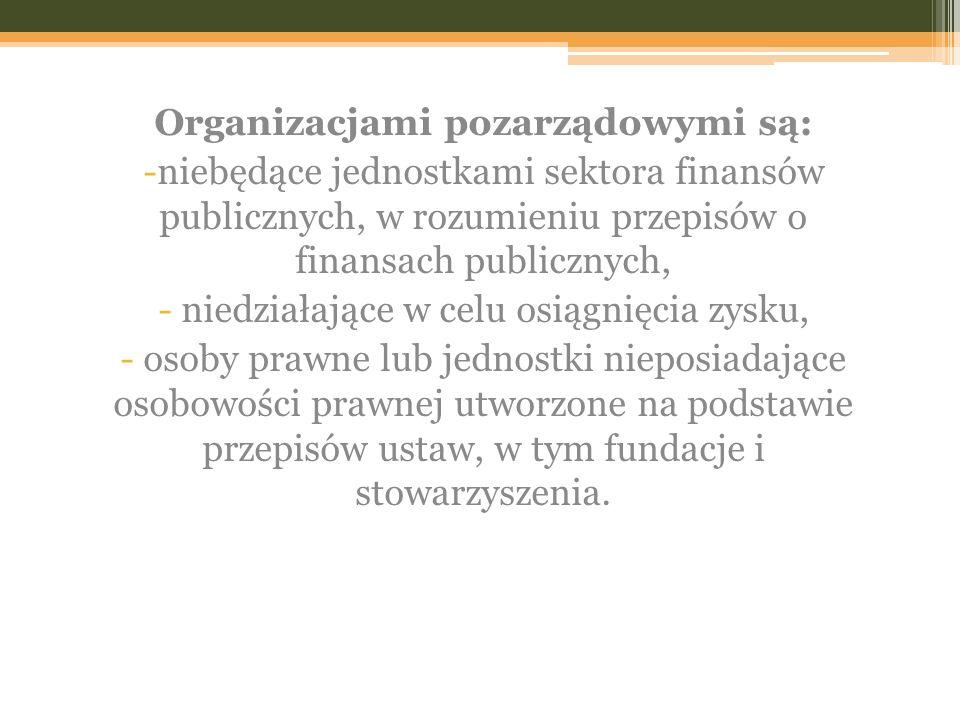 Organizacjami pozarządowymi są: