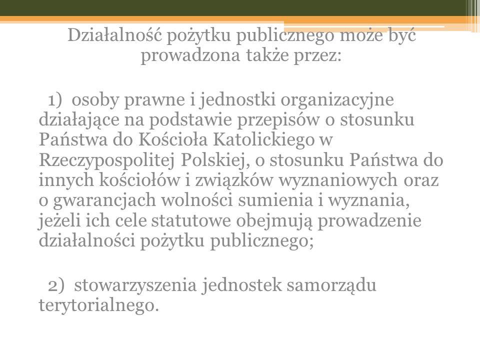Działalność pożytku publicznego może być prowadzona także przez: