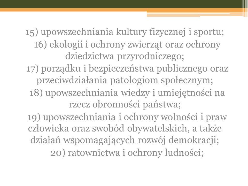 15) upowszechniania kultury fizycznej i sportu;