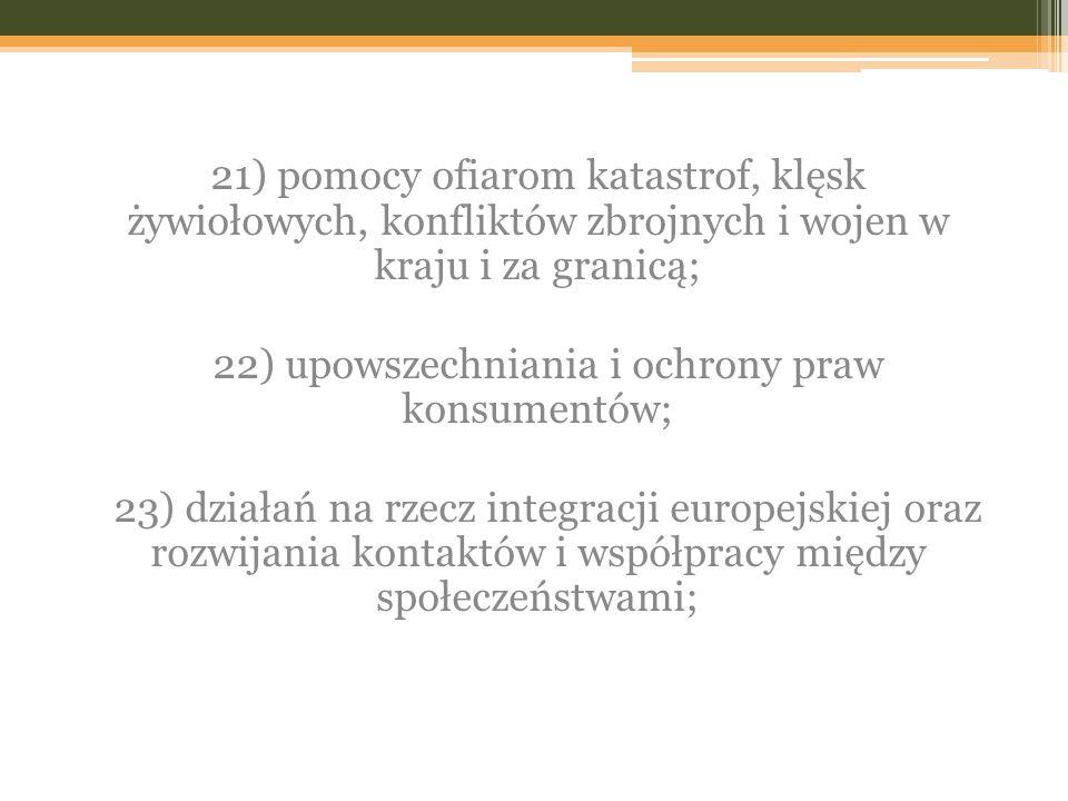 22) upowszechniania i ochrony praw konsumentów;