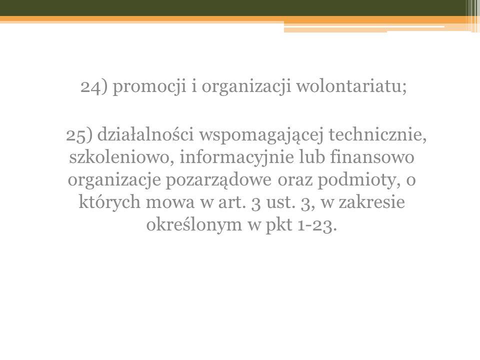 24) promocji i organizacji wolontariatu;