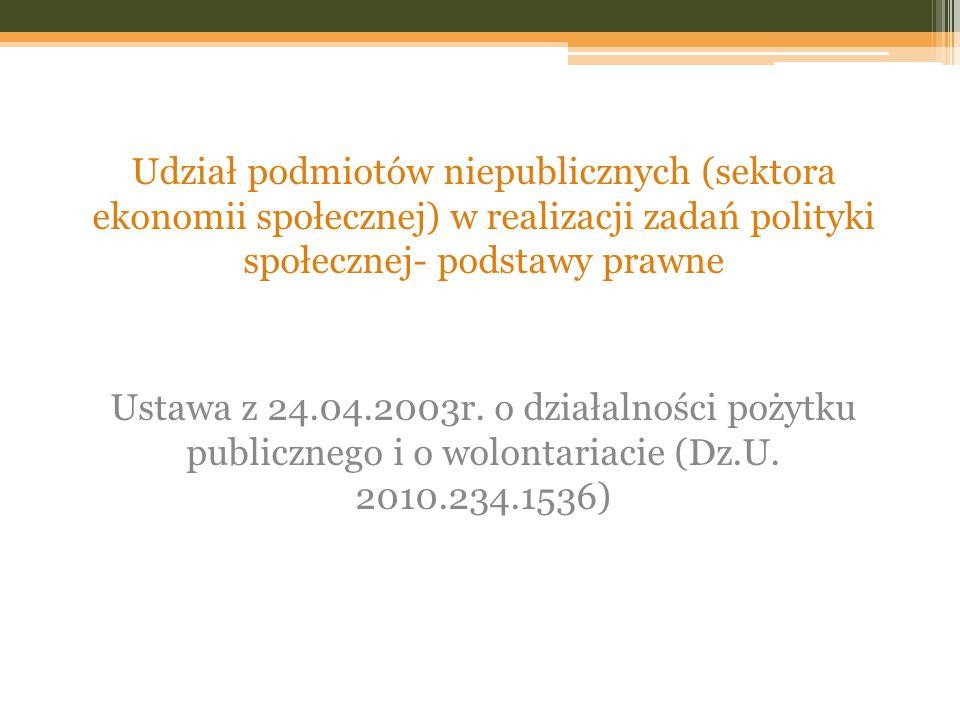 Udział podmiotów niepublicznych (sektora ekonomii społecznej) w realizacji zadań polityki społecznej- podstawy prawne