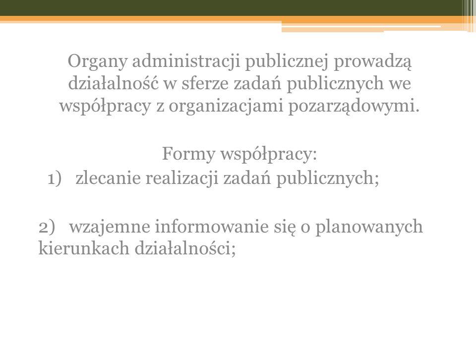 Organy administracji publicznej prowadzą działalność w sferze zadań publicznych we współpracy z organizacjami pozarządowymi.