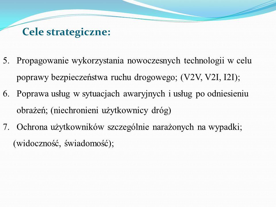 Cele strategiczne: Propagowanie wykorzystania nowoczesnych technologii w celu poprawy bezpieczeństwa ruchu drogowego; (V2V, V2I, I2I);
