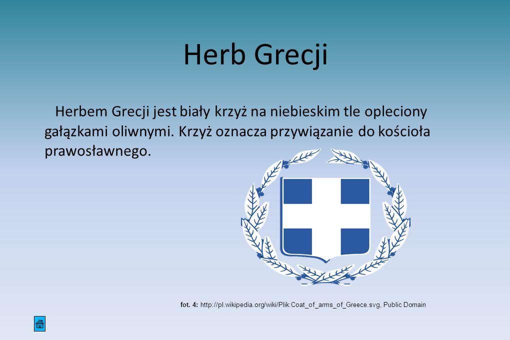 Herbem Grecji jest biały krzyż na niebieskim tle opleciony gałązkami oliwnymi. Krzyż oznacza przywiązanie do kościoła prawosławnego.
