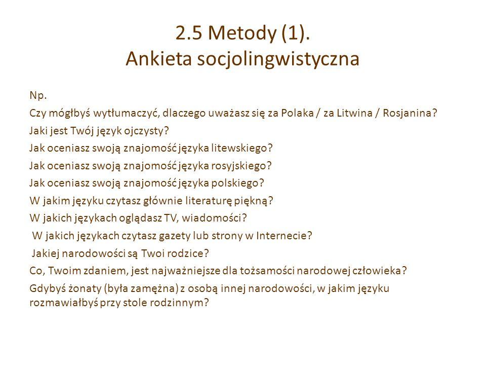 2.5 Metody (1). Ankieta socjolingwistyczna