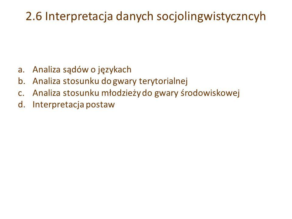 2.6 Interpretacja danych socjolingwistyczncyh