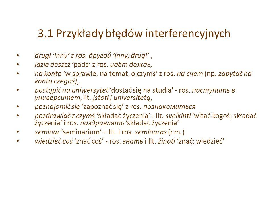 3.1 Przykłady błędów interferencyjnych