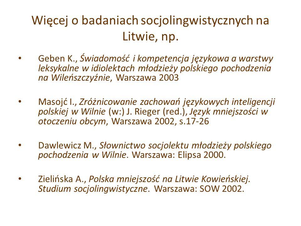Więcej o badaniach socjolingwistycznych na Litwie, np.