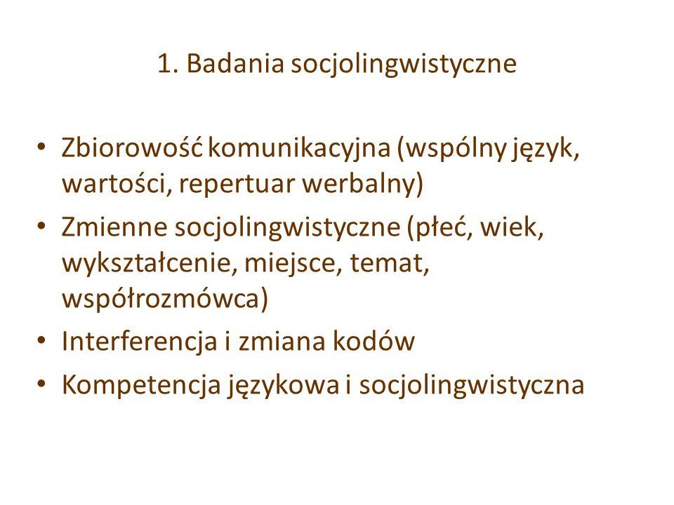1. Badania socjolingwistyczne