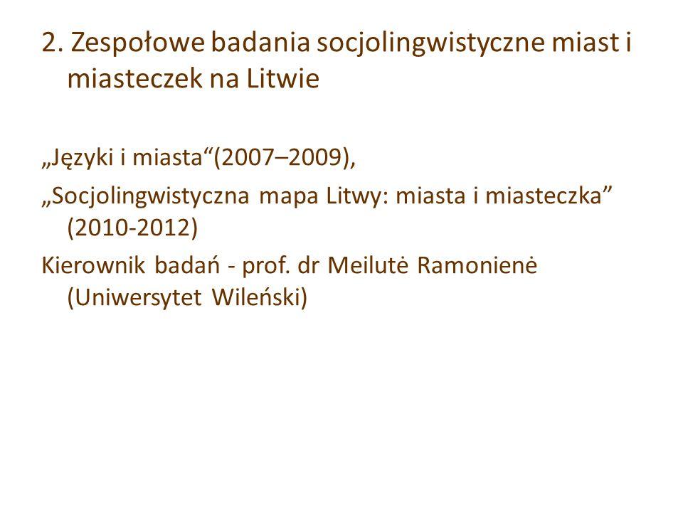 2. Zespołowe badania socjolingwistyczne miast i miasteczek na Litwie