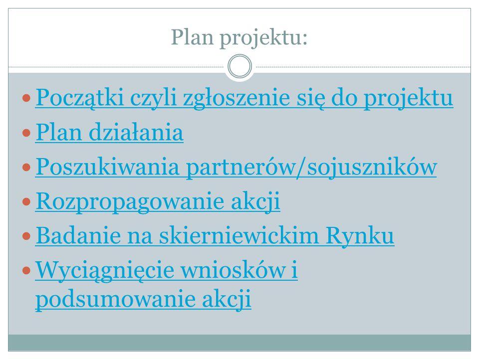 Początki czyli zgłoszenie się do projektu Plan działania