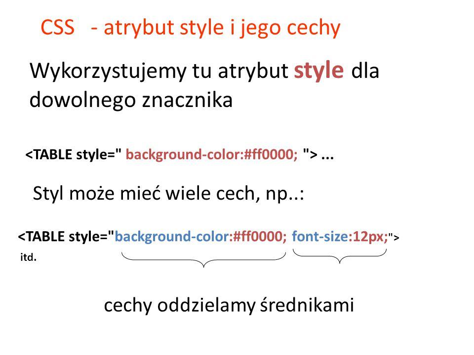 CSS - atrybut style i jego cechy