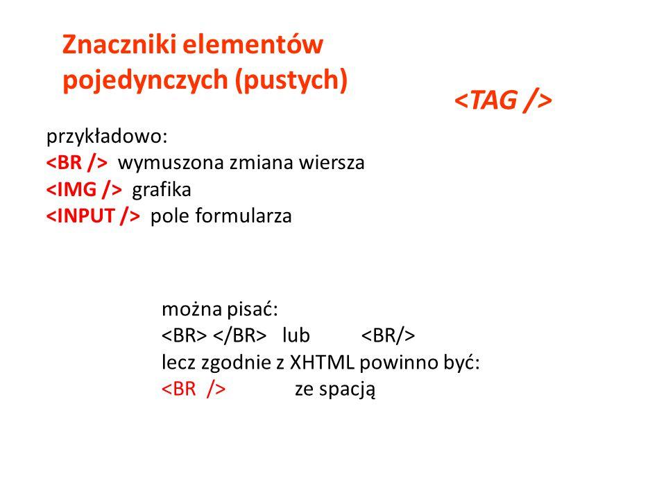 Znaczniki elementów pojedynczych (pustych)